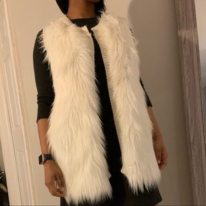 White Faux Fur Knitted vest